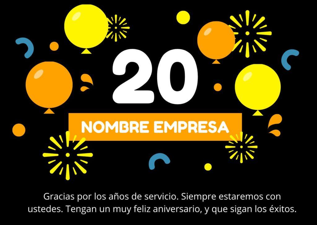Ejemplo de feliz aniversario de una empresa 2020