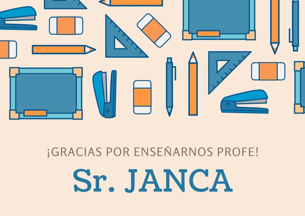 Tarjeta de Agradecimiento Graduación profesor JANCA