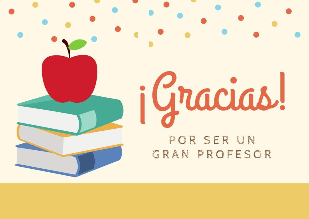 Tarjeta de Agradeciminto para Profesor en Crema con Lunares