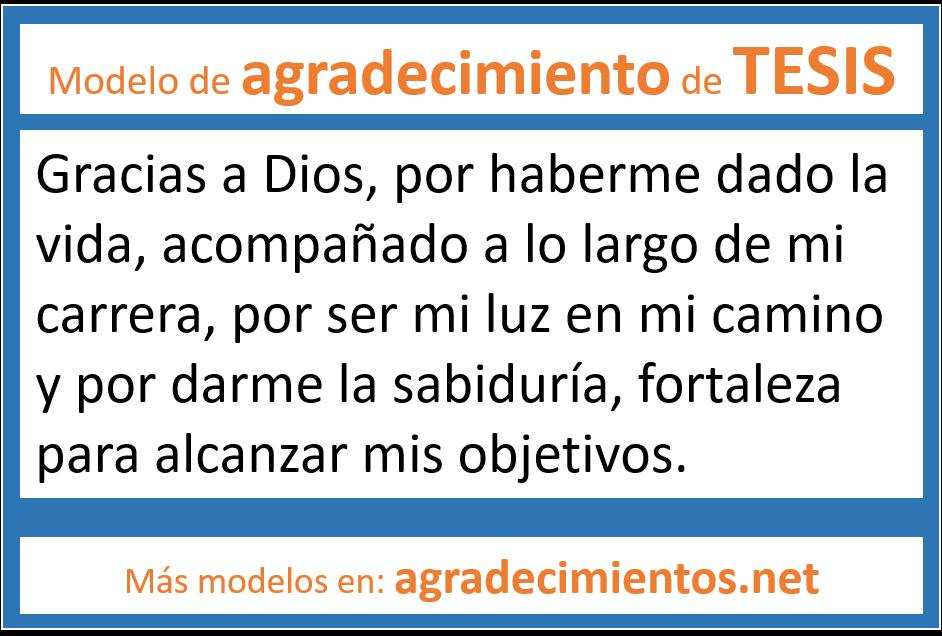 modelos de agradecimientos y dedicatorias a dios para tesis