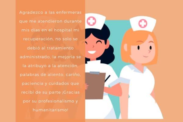 Agradecimiento a las enfermeras que me atendieron 2021
