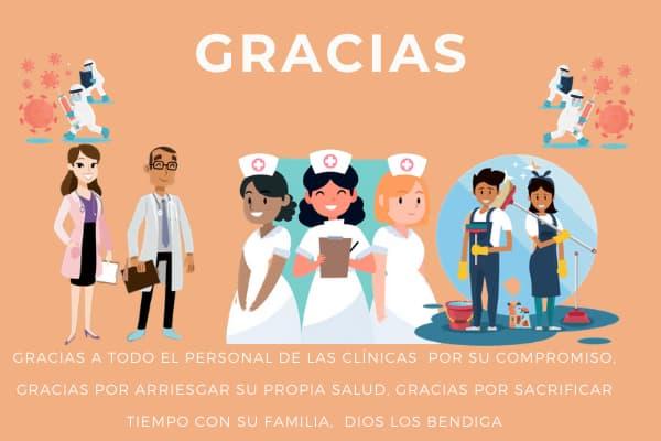 Agradecimiento a medicos enfermeras personal de aseo de las clinicas en esta pandemia del coronavirus covid 19