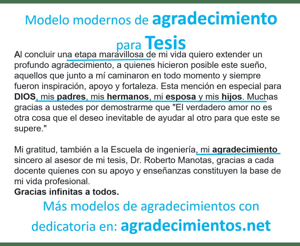 Modelo de Agradecimiento para Tesis 2020 - agradecimientos.net