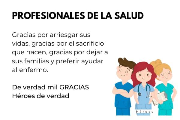 agradecimientos a los profesionales de la salud medicos, enfermeras personal de seo seguridad