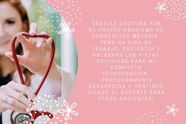 palabras y frases de Agradecimiento a mi doctora 2020