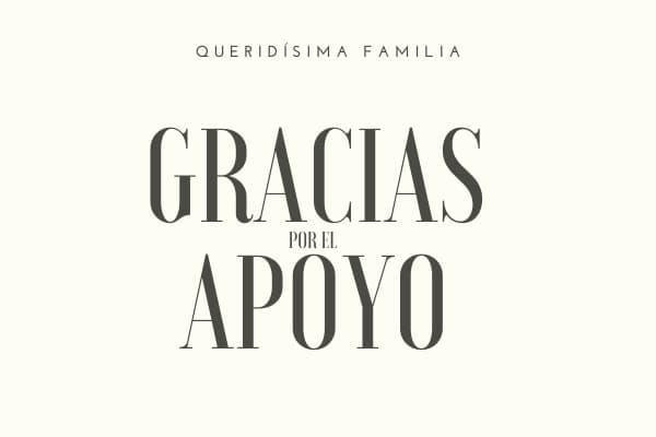 carta de agradecimiento por apoyo A LA FAMILIA